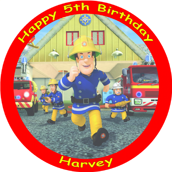 FIREMAN SAM EDIBLE ROUND BIRTHDAY CAKE TOPPER DECORATION